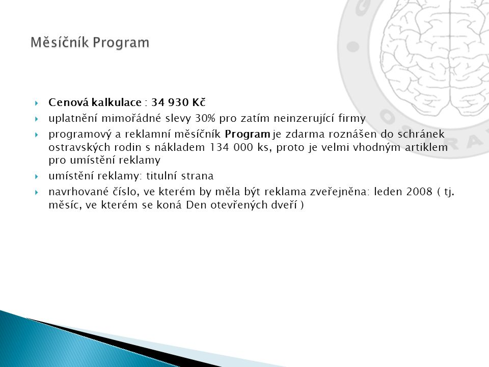 Měsíčník Program Cenová kalkulace : 34 930 Kč