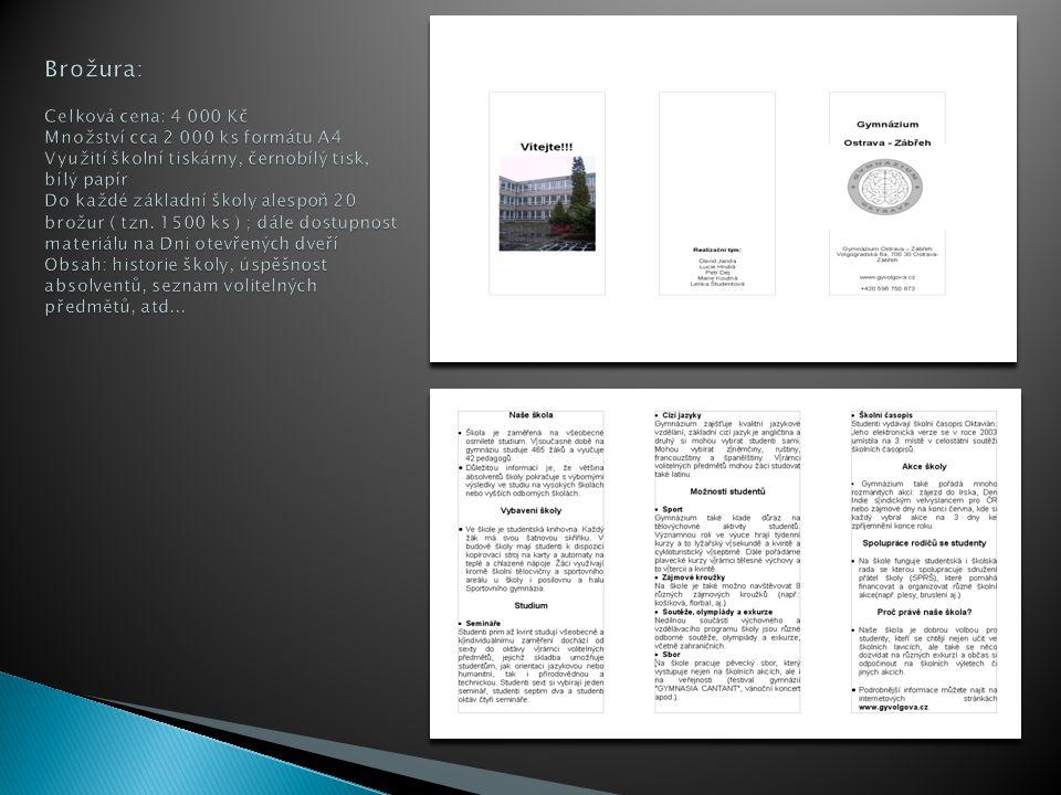 Brožura: Celková cena: 4 000 Kč Množství cca 2 000 ks formátu A4 Využití školní tiskárny, černobílý tisk, bílý papír Do každé základní školy alespoň 20 brožur ( tzn.