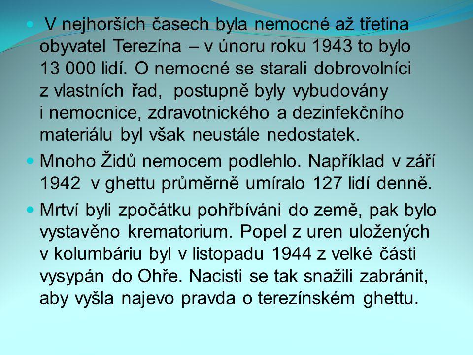 V nejhorších časech byla nemocné až třetina obyvatel Terezína – v únoru roku 1943 to bylo 13 000 lidí. O nemocné se starali dobrovolníci z vlastních řad, postupně byly vybudovány i nemocnice, zdravotnického a dezinfekčního materiálu byl však neustále nedostatek.