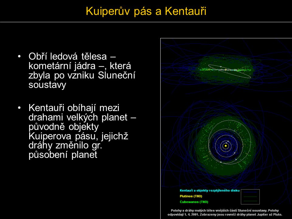 Kuiperův pás a Kentauři