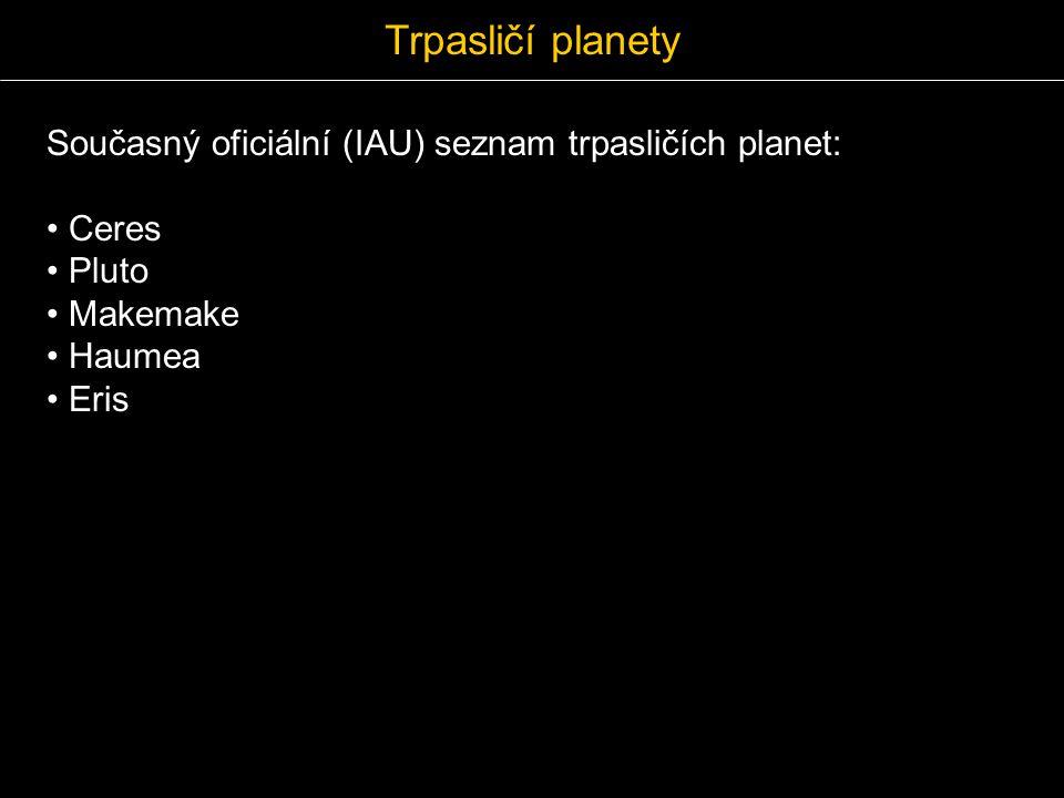 Trpasličí planety Současný oficiální (IAU) seznam trpasličích planet:
