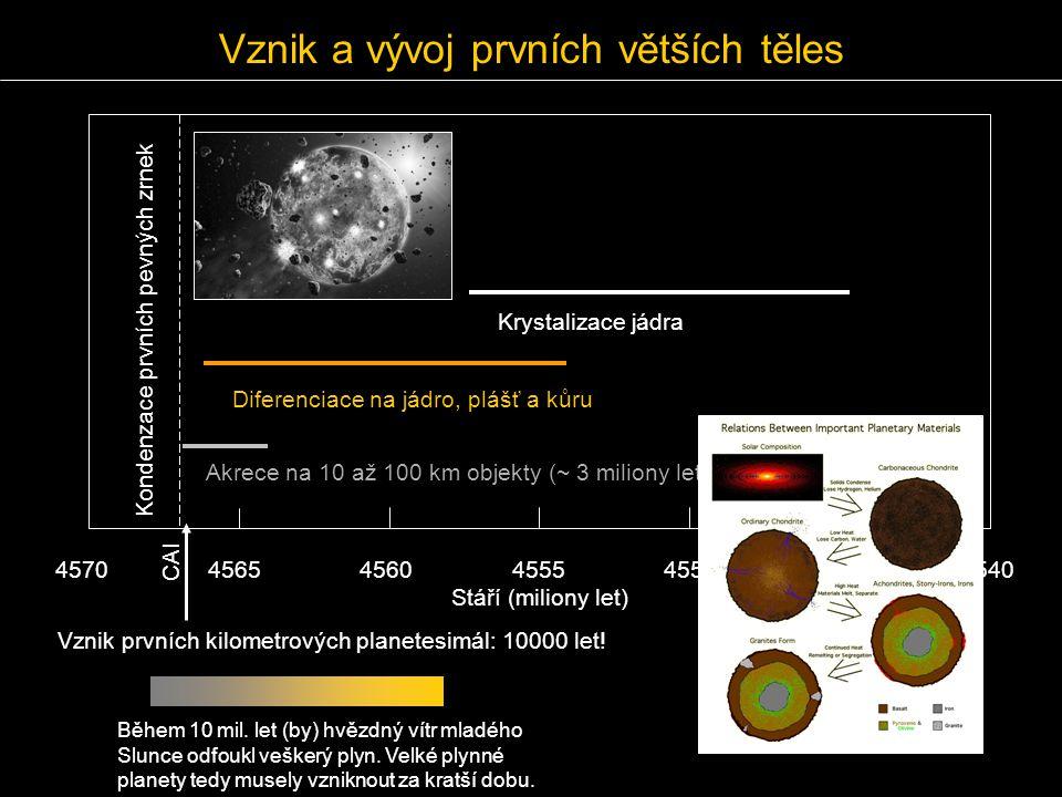 Vznik a vývoj prvních větších těles