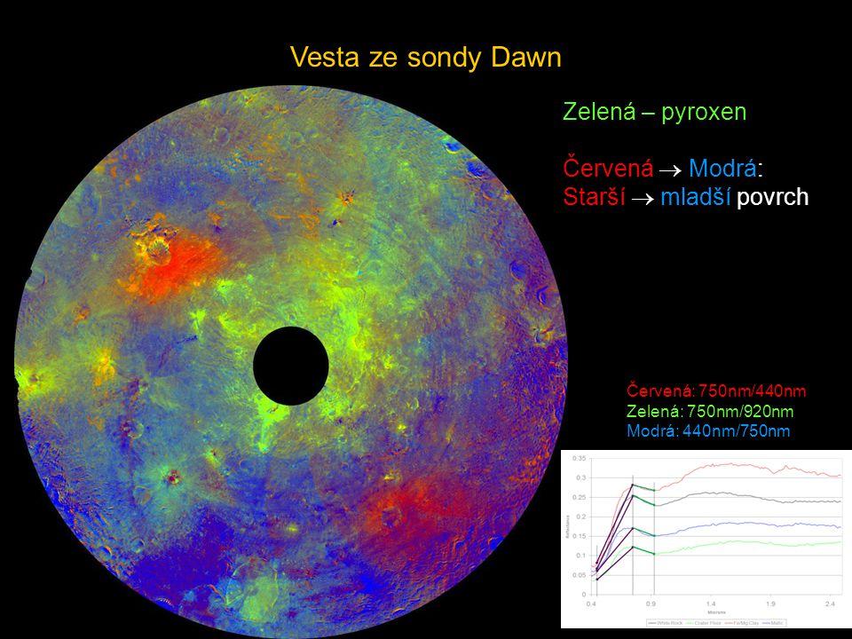 Vesta ze sondy Dawn Zelená – pyroxen Červená  Modrá:
