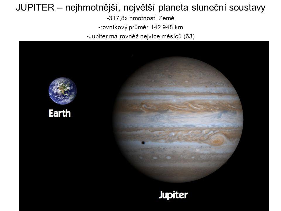 JUPITER – nejhmotnější, největší planeta sluneční soustavy