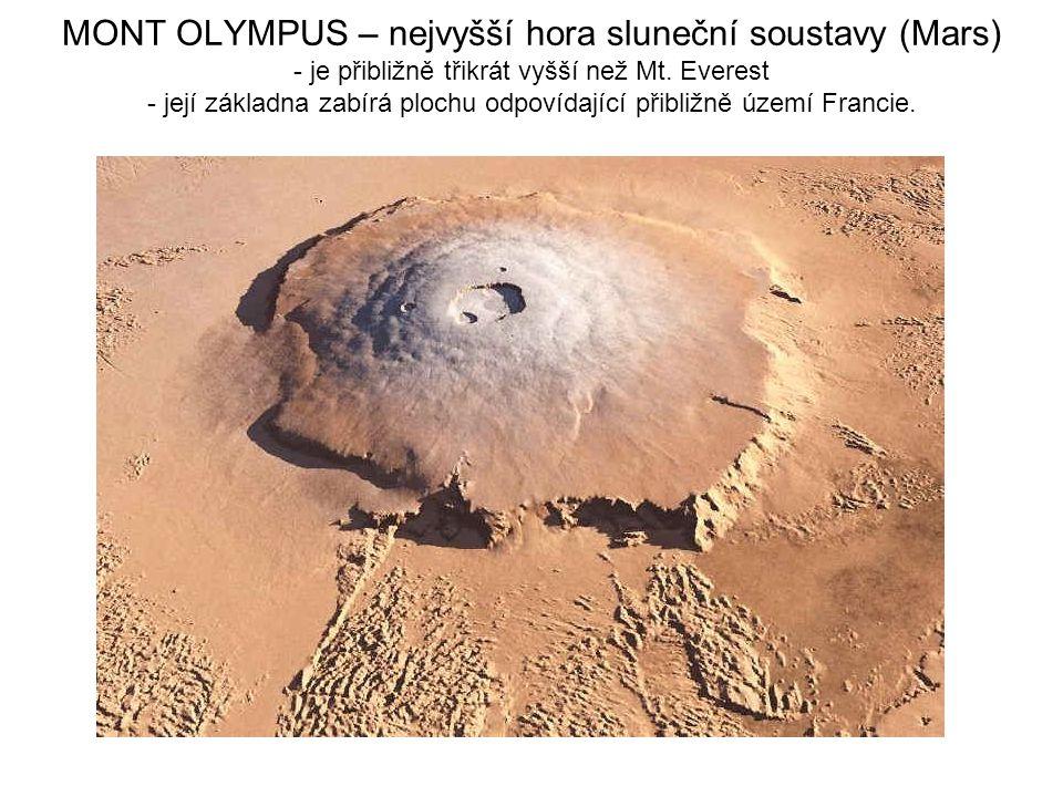 MONT OLYMPUS – nejvyšší hora sluneční soustavy (Mars) - je přibližně třikrát vyšší než Mt.