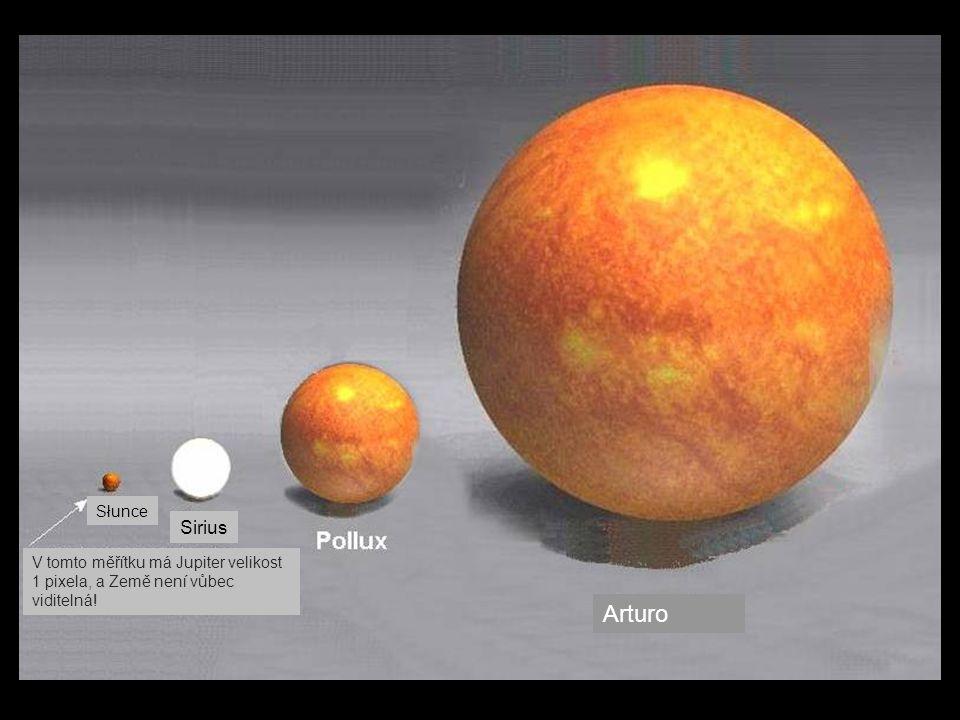 Słunce Sirius V tomto měřítku má Jupiter velikost 1 pixela, a Země není vůbec viditelná! Arturo