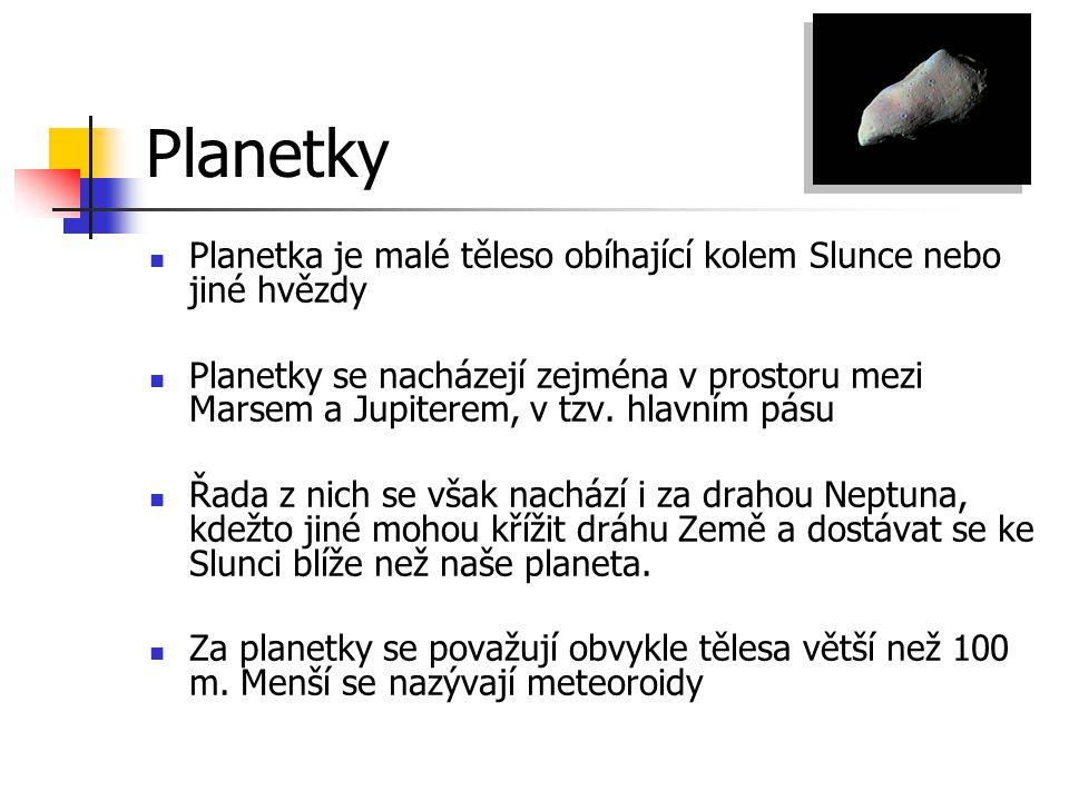 Planetky Planetka je malé těleso obíhající kolem Slunce nebo jiné hvězdy.