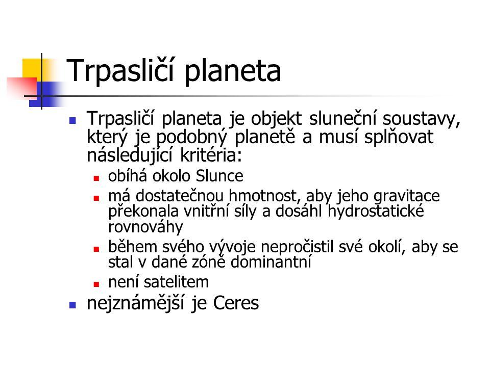 Trpasličí planeta Trpasličí planeta je objekt sluneční soustavy, který je podobný planetě a musí splňovat následující kritéria: