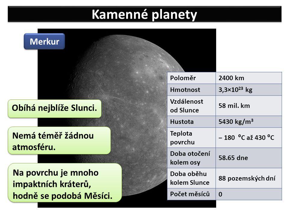 Kamenné planety Merkur Obíhá nejblíže Slunci.