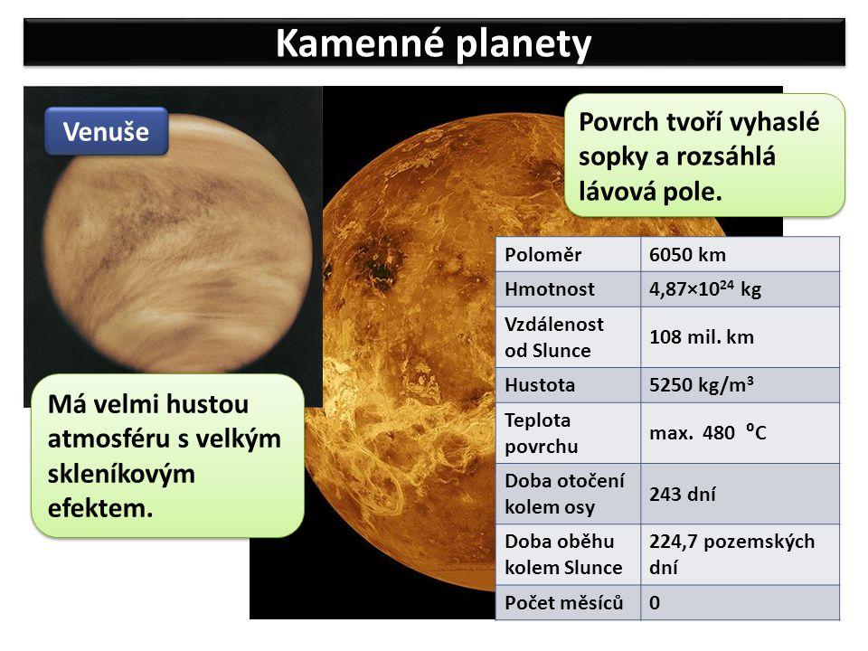 Kamenné planety Povrch tvoří vyhaslé sopky a rozsáhlá lávová pole.