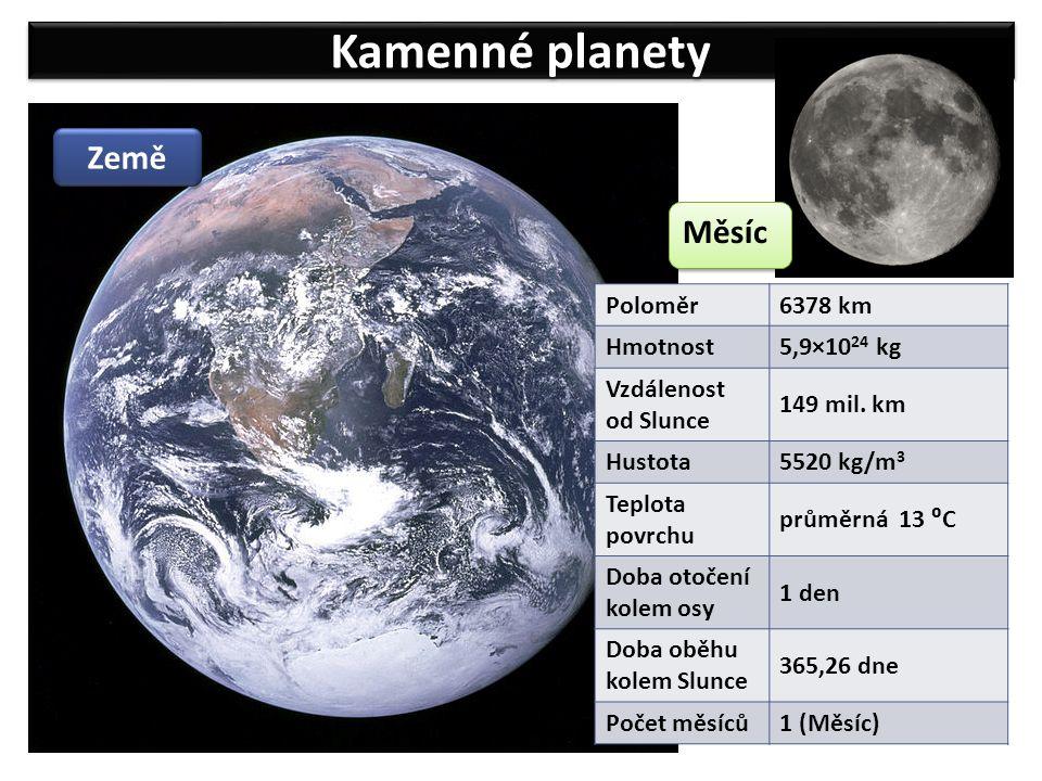 Kamenné planety Země Měsíc 6378 km Poloměr 5,9×1024 kg Hmotnost