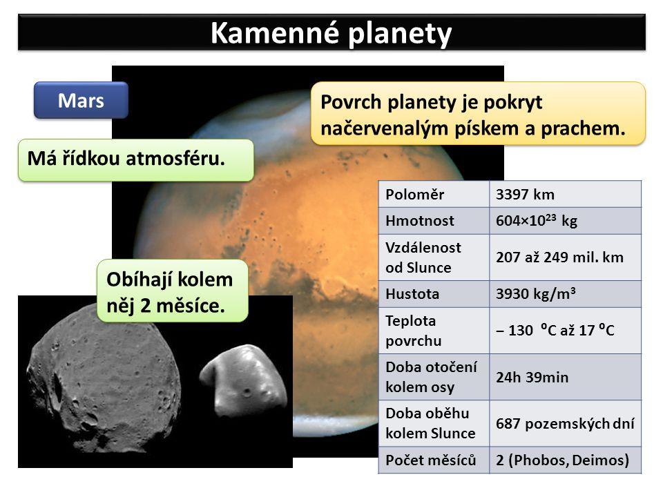 Kamenné planety Mars. Povrch planety je pokryt načervenalým pískem a prachem. Má řídkou atmosféru.