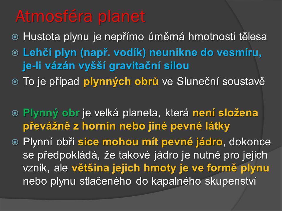 Atmosféra planet Hustota plynu je nepřímo úměrná hmotnosti tělesa
