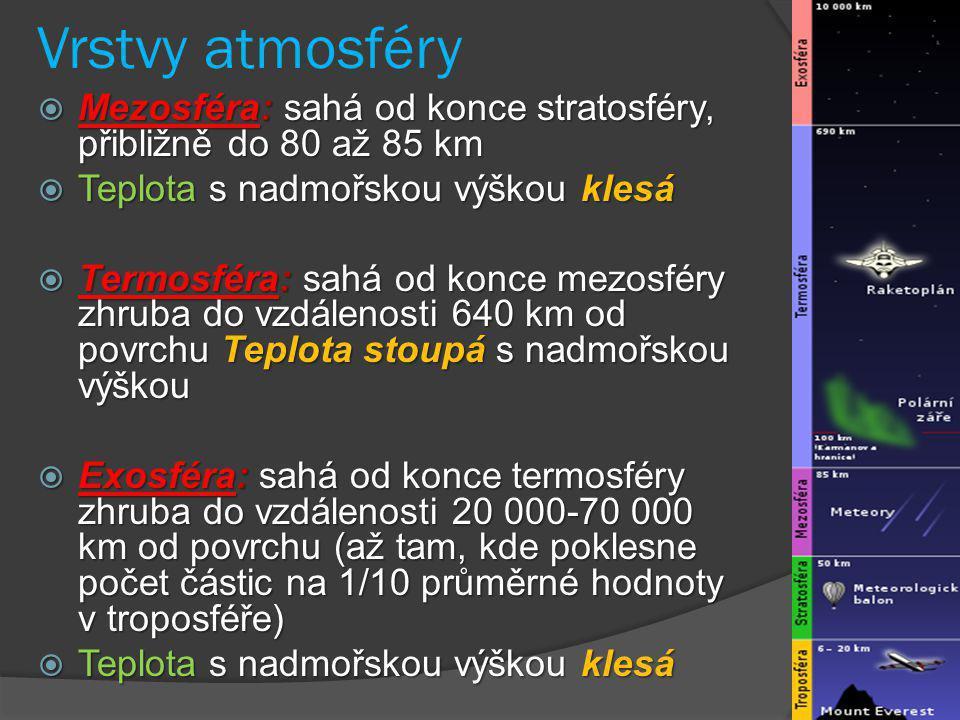 Vrstvy atmosféry Mezosféra: sahá od konce stratosféry, přibližně do 80 až 85 km. Teplota s nadmořskou výškou klesá.
