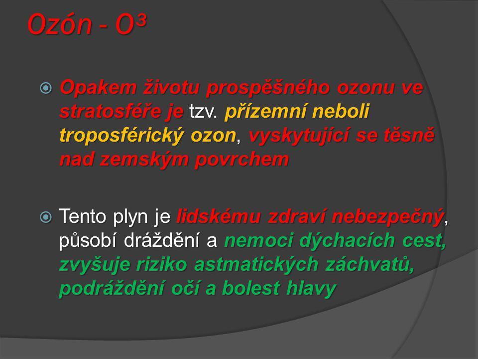 Ozón - O³ Opakem životu prospěšného ozonu ve stratosféře je tzv. přízemní neboli troposférický ozon, vyskytující se těsně nad zemským povrchem.