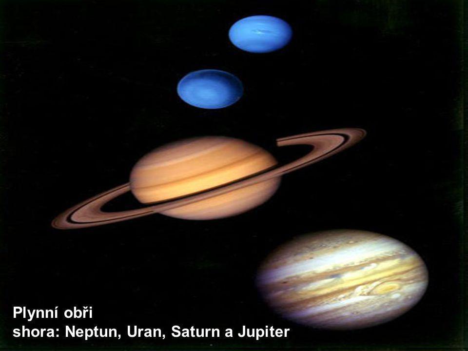 Plynní obři shora: Neptun, Uran, Saturn a Jupiter