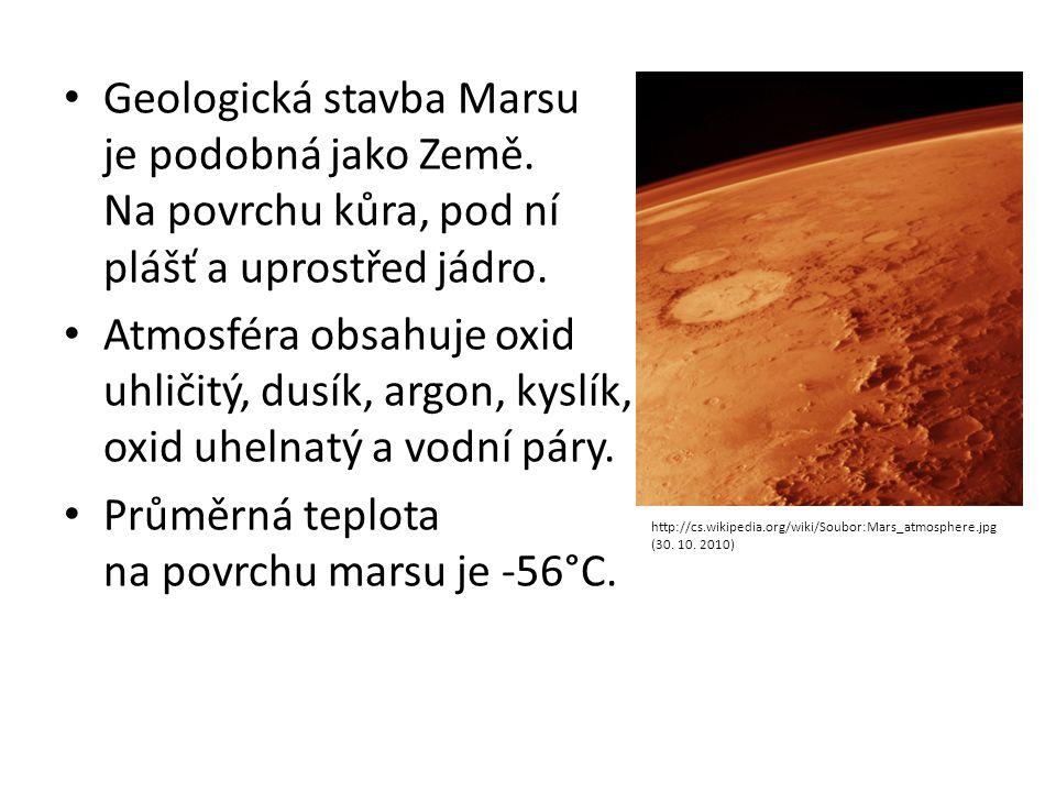 Průměrná teplota na povrchu marsu je -56°C.