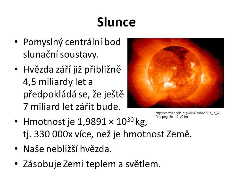 Slunce Pomyslný centrální bod slunační soustavy.