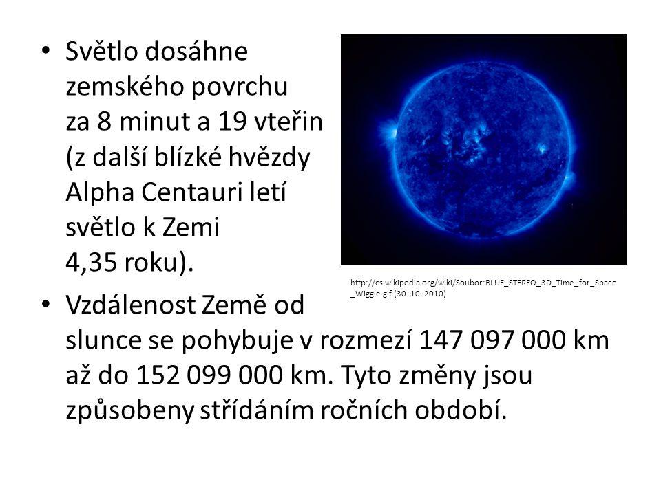 Světlo dosáhne zemského povrchu za 8 minut a 19 vteřin (z další blízké hvězdy Alpha Centauri letí světlo k Zemi 4,35 roku).
