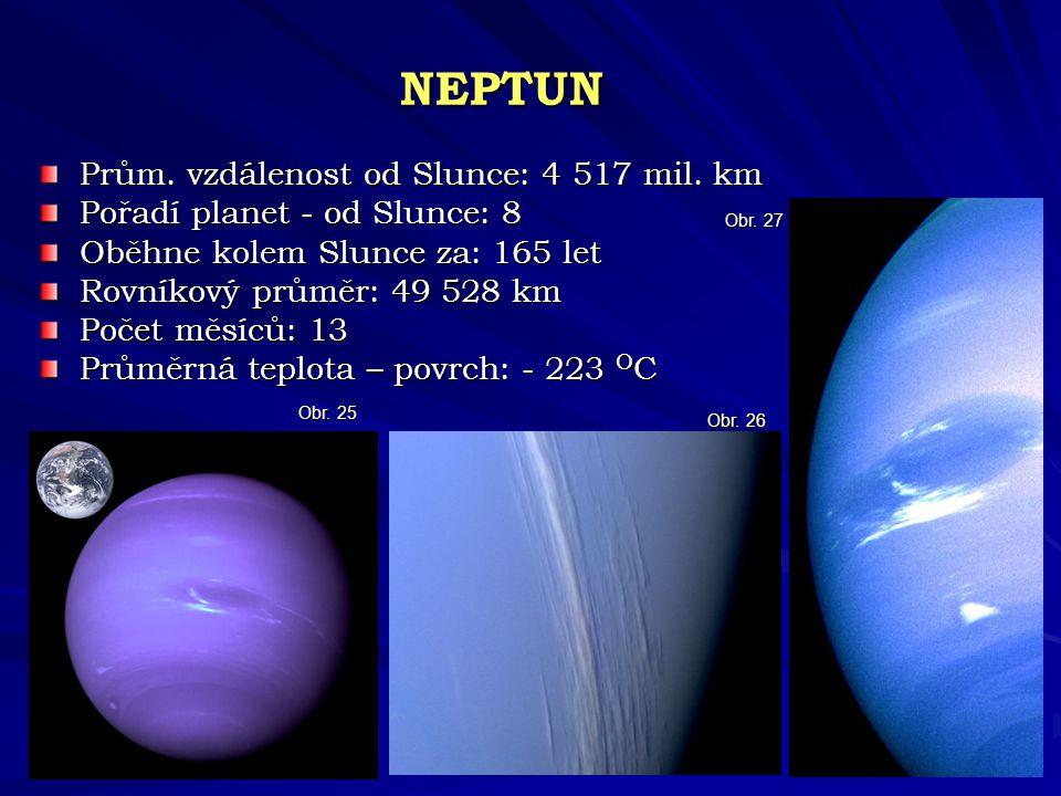 NEPTUN Prům. vzdálenost od Slunce: 4 517 mil. km
