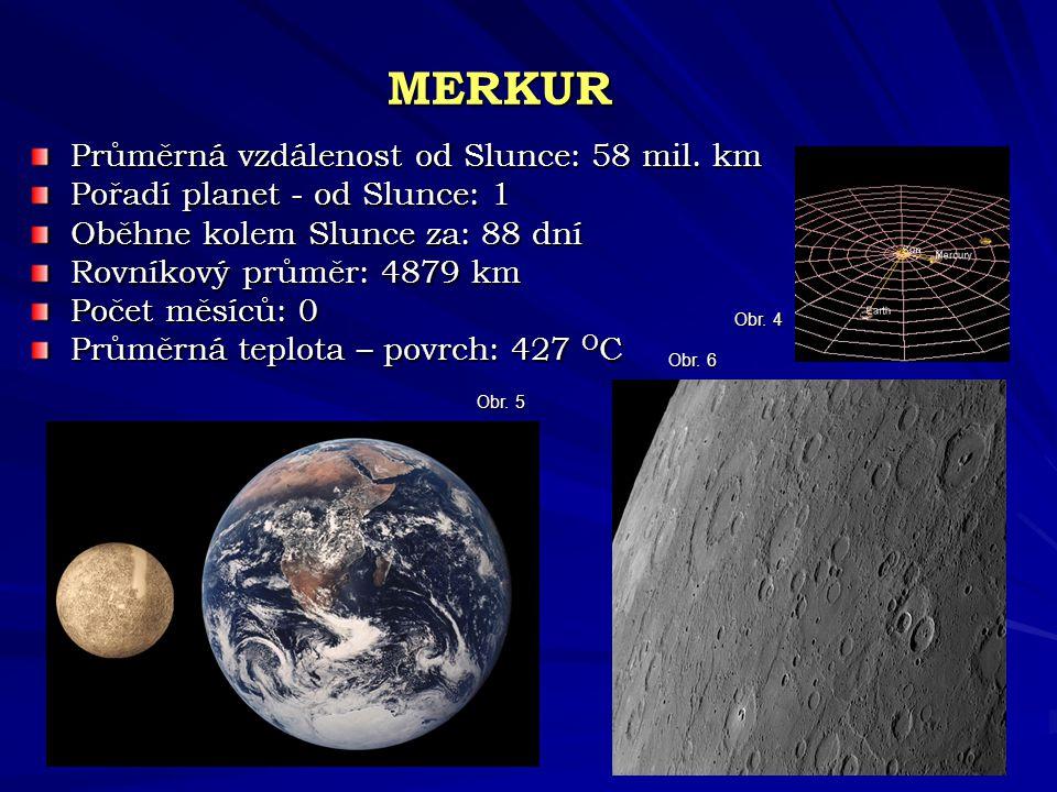 MERKUR Průměrná vzdálenost od Slunce: 58 mil. km