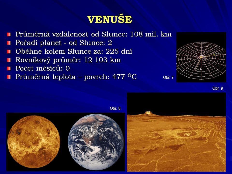 VENUŠE Průměrná vzdálenost od Slunce: 108 mil. km