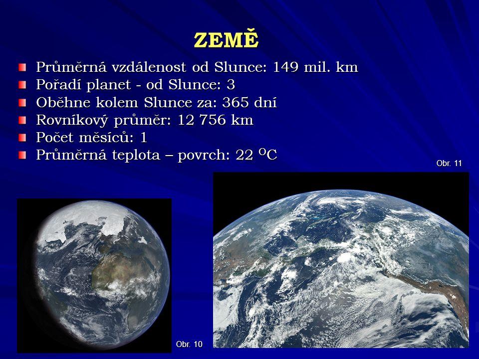 ZEMĚ Průměrná vzdálenost od Slunce: 149 mil. km