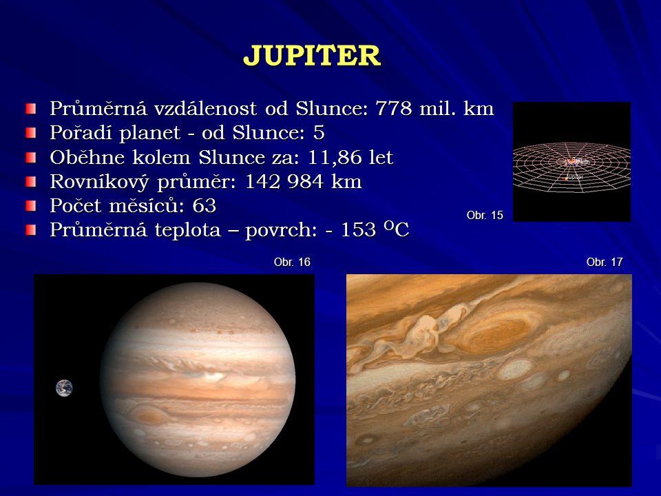 JUPITER Průměrná vzdálenost od Slunce: 778 mil. km