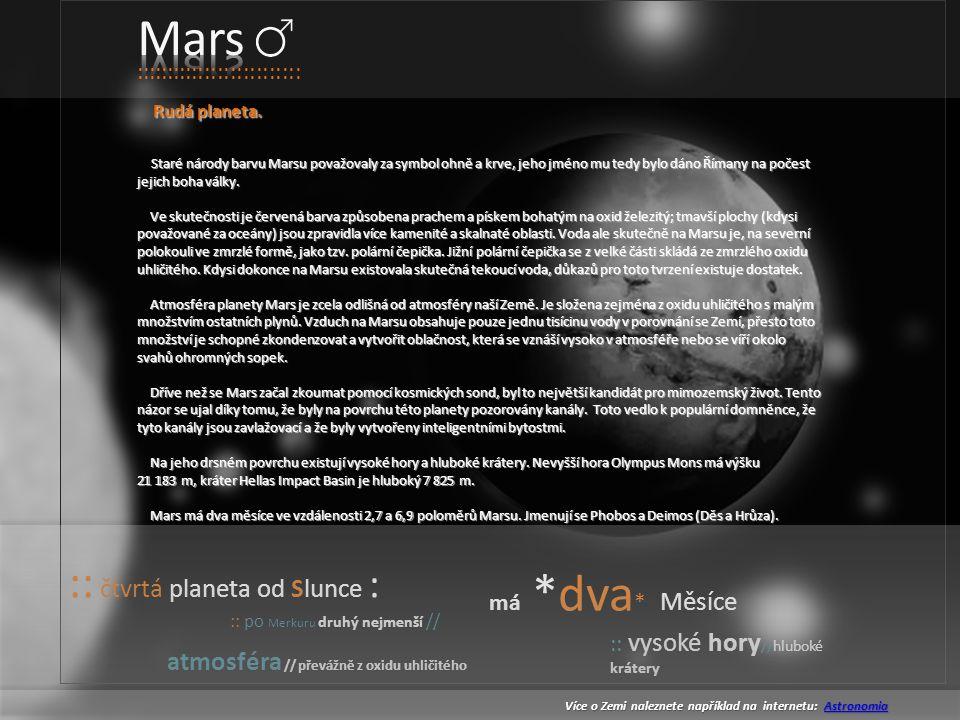 Mars :: čtvrtá planeta od Slunce :