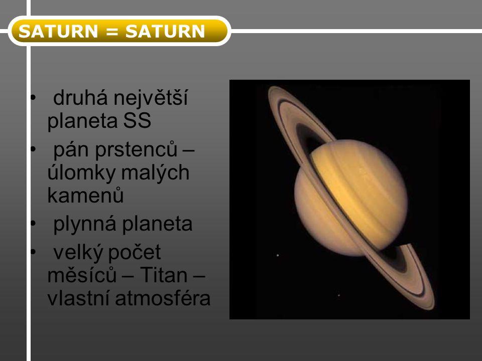 druhá největší planeta SS pán prstenců – úlomky malých kamenů
