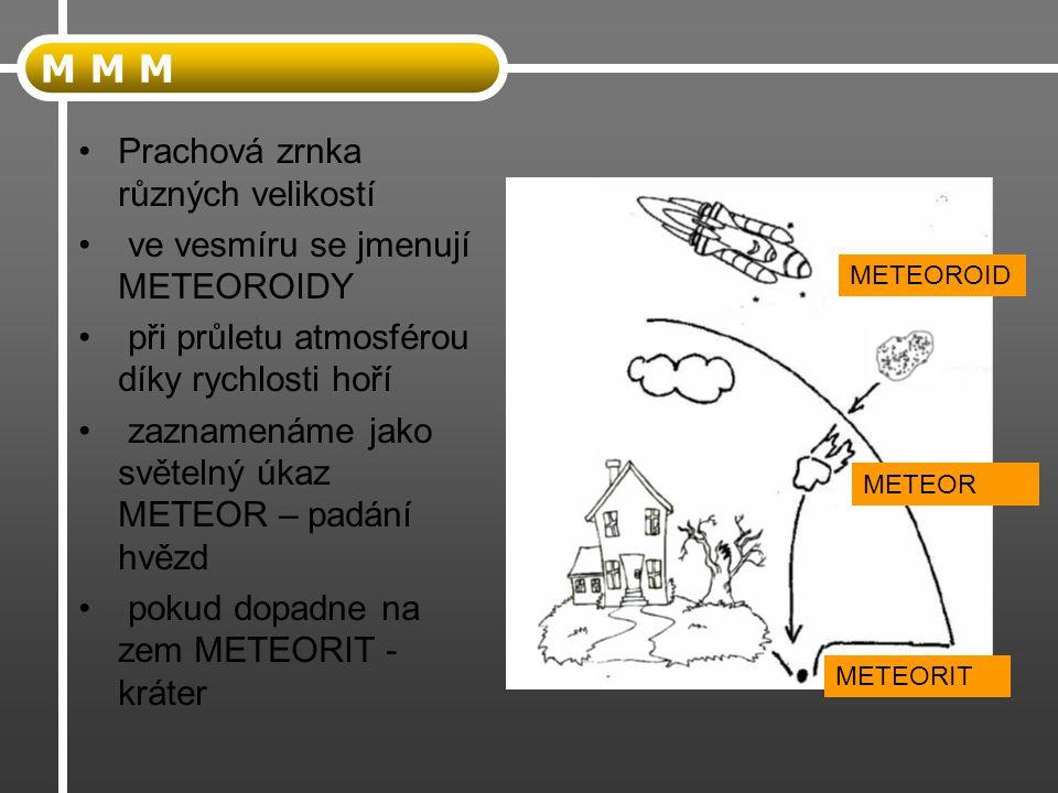 M M M Prachová zrnka různých velikostí