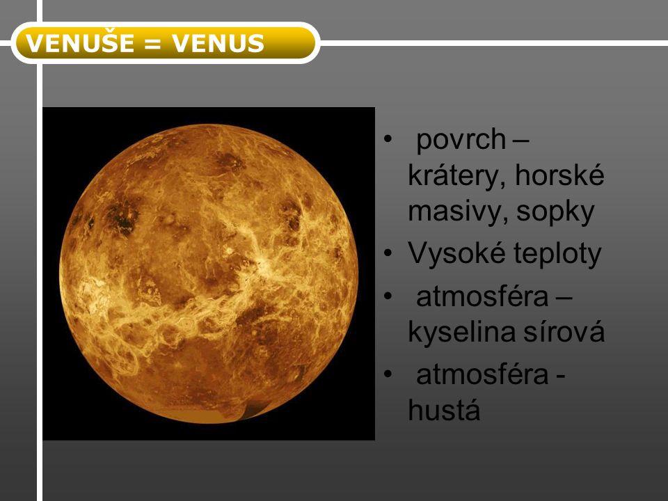 povrch – krátery, horské masivy, sopky