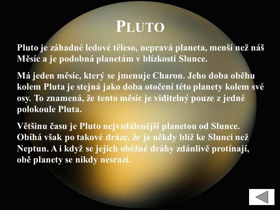 Pluto Pluto je záhadné ledové těleso, nepravá planeta, menší než náš Měsíc a je podobná planetám v blízkosti Slunce.