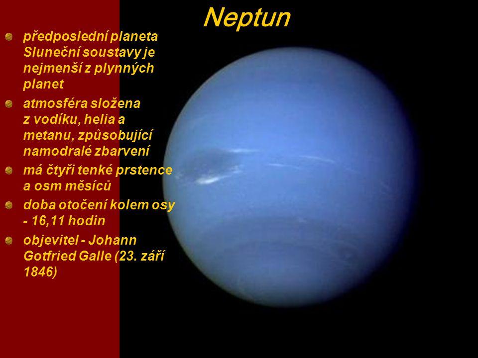 předposlední planeta Sluneční soustavy je nejmenší z plynných planet