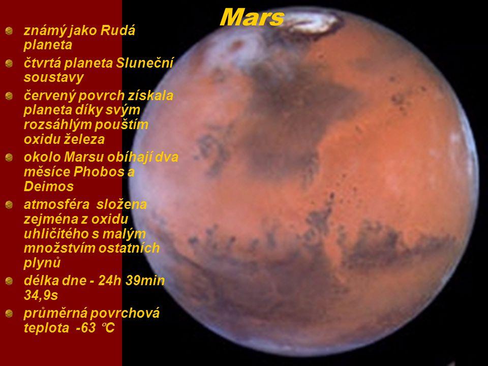 Mars známý jako Rudá planeta čtvrtá planeta Sluneční soustavy