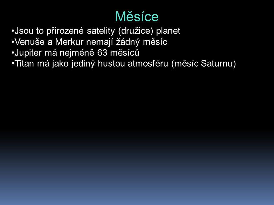 Měsíce Jsou to přirozené satelity (družice) planet