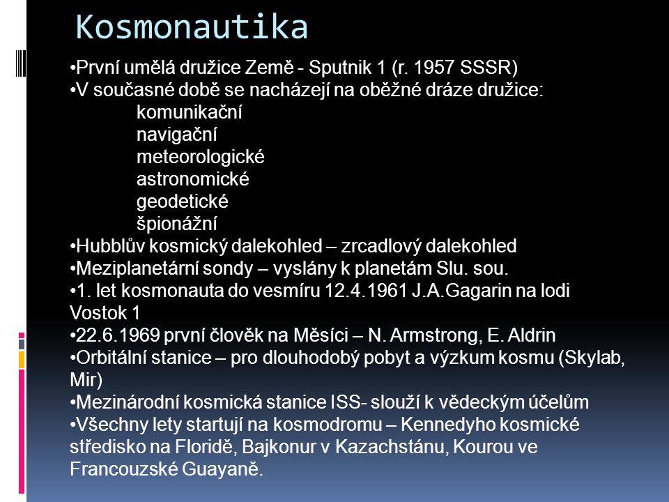 Kosmonautika První umělá družice Země - Sputnik 1 (r. 1957 SSSR)