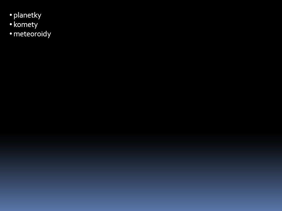 planetky komety meteoroidy