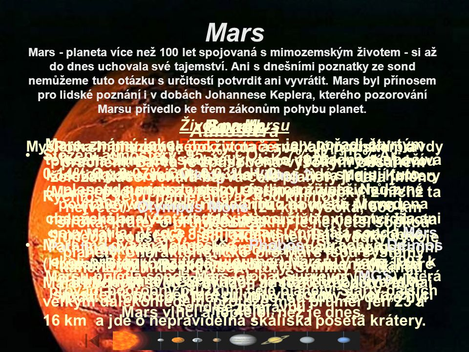 Mars Atmosféra Měsíce Povrch Sondy Život na Marsu