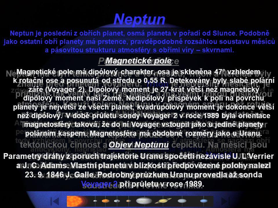 Neptun Charakteristika Atmosféra Prstence a měsíce Magnetické pole
