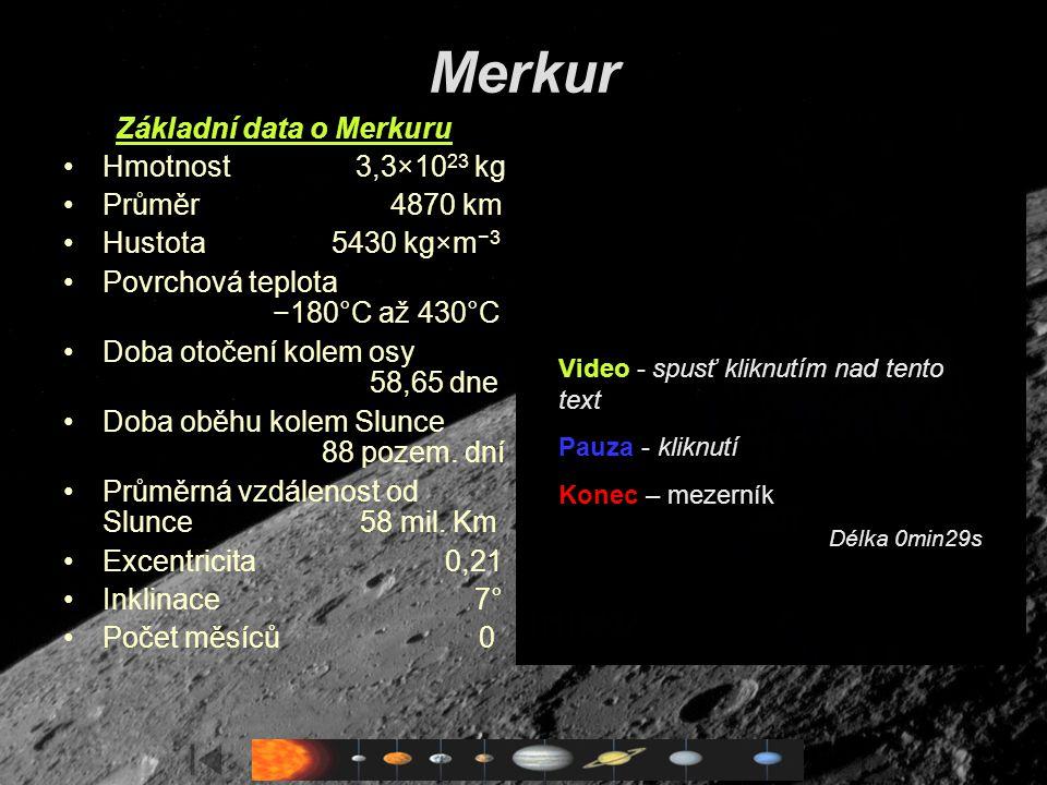 Základní data o Merkuru