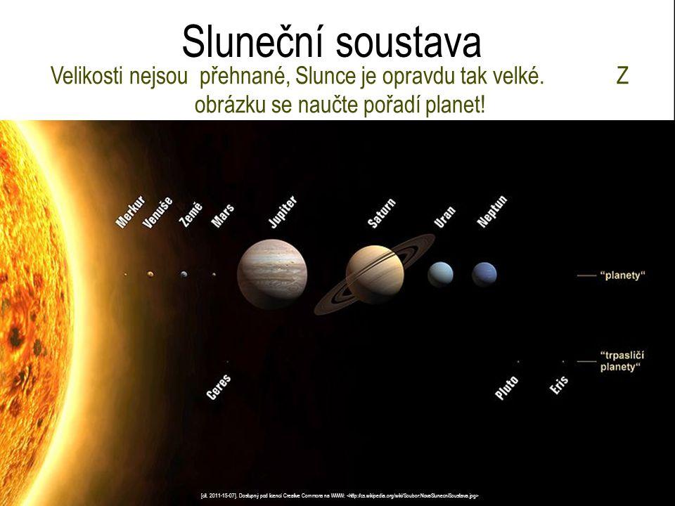 Sluneční soustava Velikosti nejsou přehnané, Slunce je opravdu tak velké. Z obrázku se naučte pořadí planet!