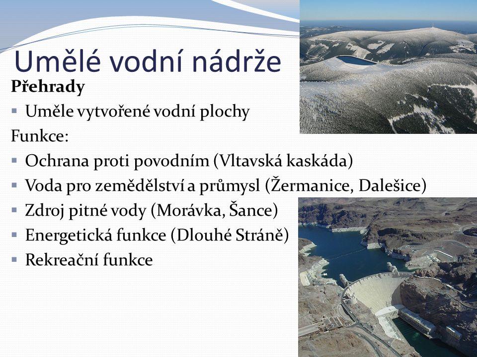 Umělé vodní nádrže Přehrady Uměle vytvořené vodní plochy Funkce: