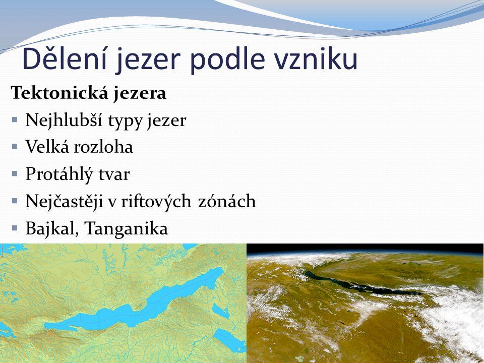 Dělení jezer podle vzniku
