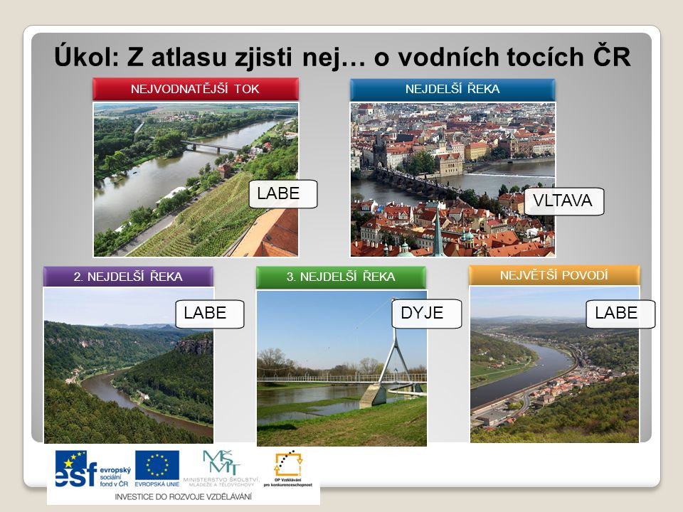 Úkol: Z atlasu zjisti nej… o vodních tocích ČR