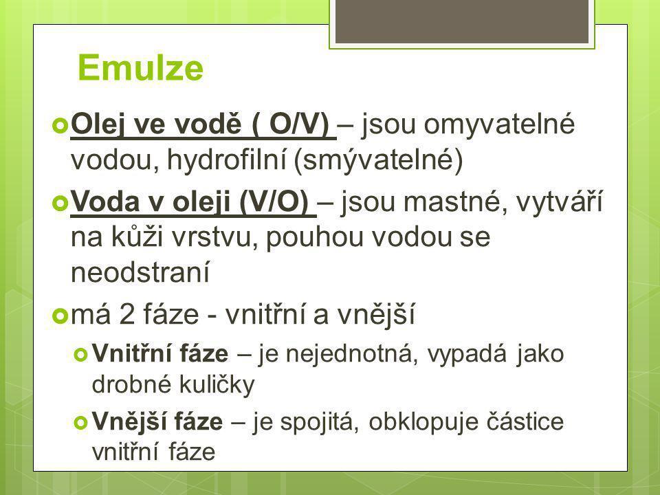 Emulze Olej ve vodě ( O/V) – jsou omyvatelné vodou, hydrofilní (smývatelné)