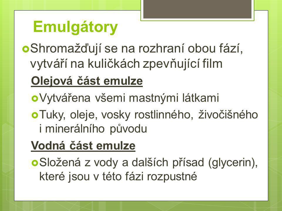 Emulgátory Shromažďují se na rozhraní obou fází, vytváří na kuličkách zpevňující film. Olejová část emulze.