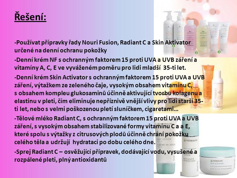 Řešení: -Používat přípravky řady Nouri Fusion, Radiant C a Skin Aktivator určené na denní ochranu pokožky.