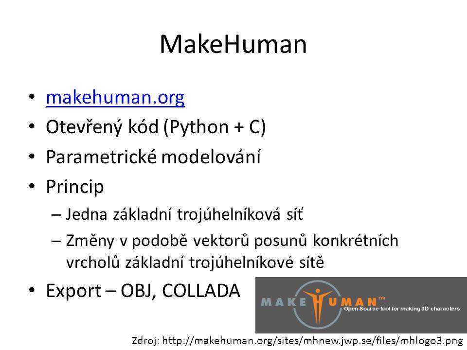 MakeHuman makehuman.org Otevřený kód (Python + C)