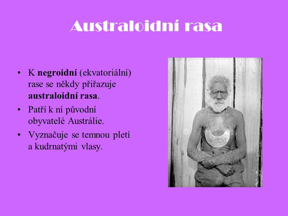 Australoidní rasa K negroidní (ekvatoriální) rase se někdy přiřazuje australoidní rasa. Patří k ní původní obyvatelé Austrálie.